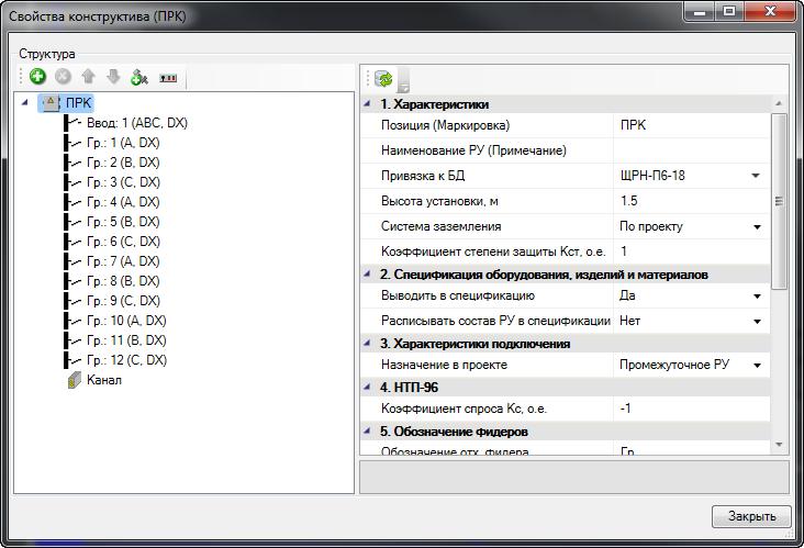 Рис.2 Окно свойств распределительного устройства